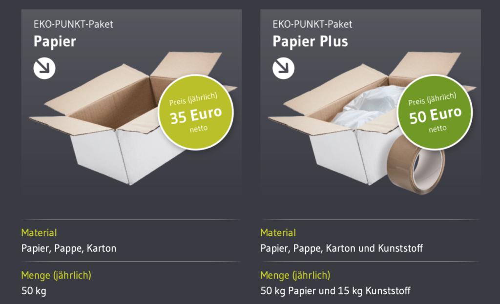 Paketpreise bei EKO-PUNKT