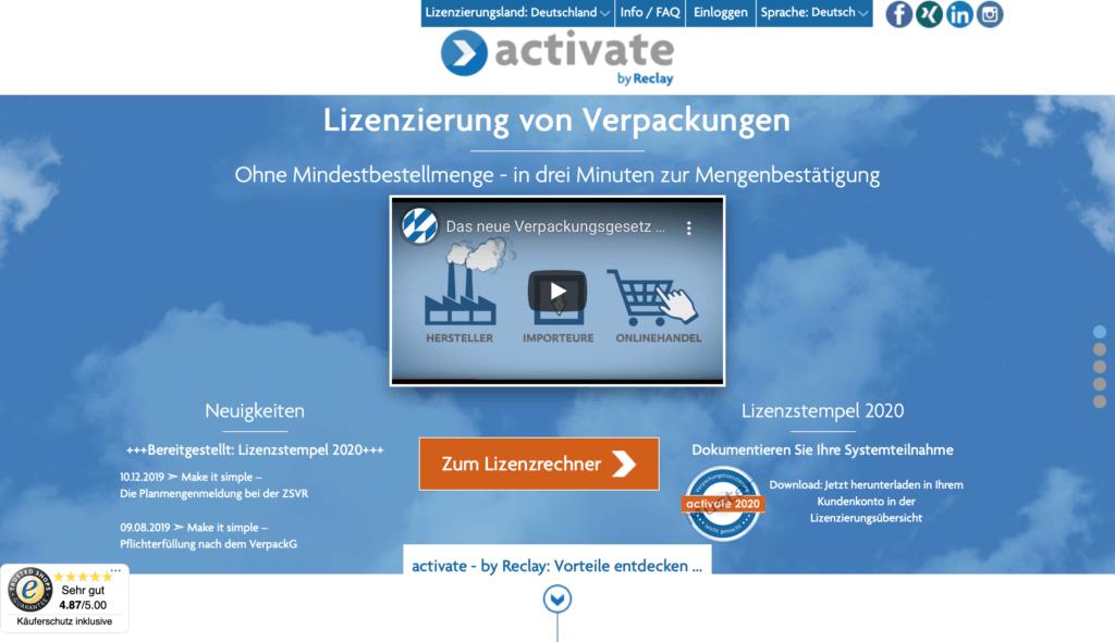 Activate Onlineshop für Verpackungslizenzen der Firma Reclay