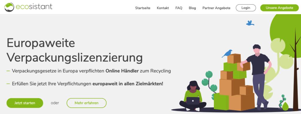 Ecosistant Verpackungslizenz EU Versand website