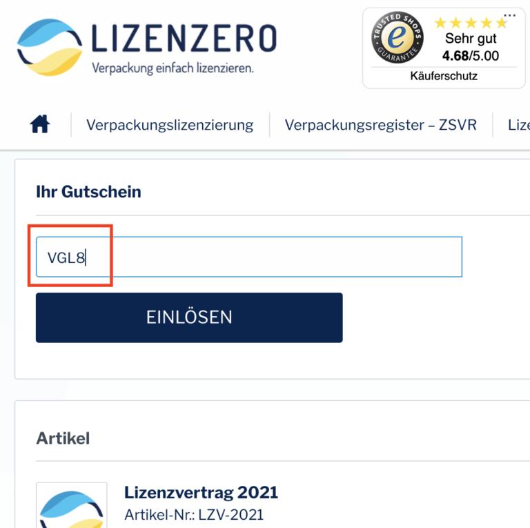 Lizenzero Gutscheincode VGL8