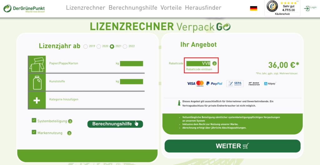 Grüner Punkt Kalkulator Gutscheincode